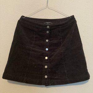 Black Corduroy Button-down skirt